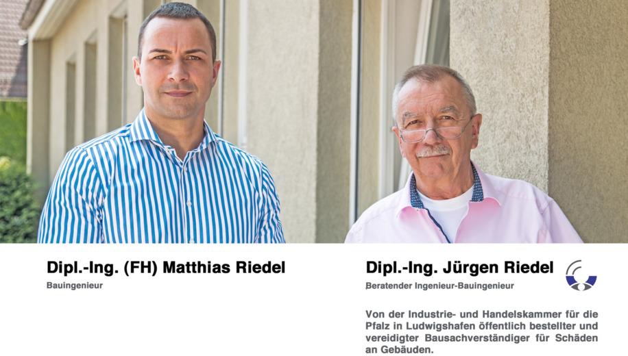 Dipl.-Ing. Jürgen Riedel Beratender Ingenieur-Bauingenieur   Von der Industrie- und Handelskammer für die Pfalz in Ludwigshafen öffentlich bestellter und vereidigter Bausachverständiger für Schäden an Gebäuden.